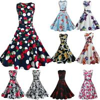 Women Vintage 50s 60s Pinup Swing Evening Party Housewife Rockabilly Retro Dress
