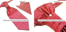 Men Ascot Scrunch Ruche Cravat PreTie Tie + Handkerchief Set Red Wave Pattern