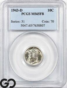 1943-D MS65 Mercury Dime, Full Split Bands, PCGS Mint State 65 FSB ** Gorgeous!