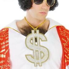 Gold Dollar Pimp Necklace Chain Pendant Gangster Fancy Dress 70s Disco LARGE