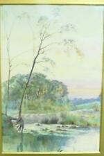 William White Warren (1832–1912) Watercolour Painting of Tree over River 1886