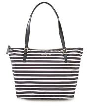 Kate Spade Watson Lane Maya Striped Nylon Tote Shopper Top Zip