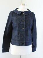 Theory Womens Regina Denim Jean Button Front Pocket Jacket Size M