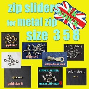 Zipper slider METAL ZIP No 3 5  ANTIQUE BRASS SILVER GOLD Zip slider ZIP PULL