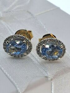 9ct Yellow  & White Gold  Blue Topaz & CZ Halo Earrings