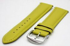 22 mm. Genuine Leather Strap with Regular Buckle - Yellow