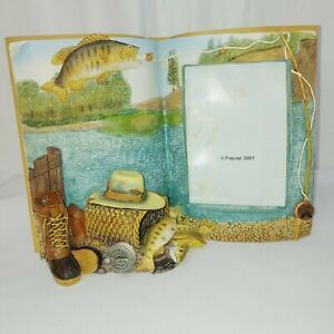 """Trout Fishing book shape Picture Frame holds picture 3 1/2""""x5"""" frame 6""""x 8.5"""""""