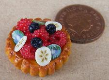 1:12 miscugli di frutta Flan Tart DOLLS HOUSE miniatura cibo DESSERT Torta Accessorio L2