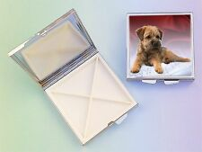Border Terrier Dog 4 Compartment Square Metal Pill Box by paws2print