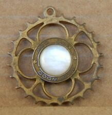 Very Unusual Victorian Cog Shaped Pendant Mother of pearl Inlay Steam punk