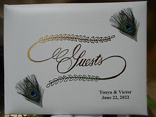 PERSONALIZED GOLD BLUE BROWN Wedding PEACOCK GUEST Book Party Bridal