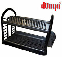 Black Silver Dunya Dish Drainer Two Tier 2 Cutlery Plates Bowls Holder Kitchen