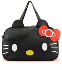 FASHION HELLO KITTY BLACK CARRY ON HAND TRAVEL GYM BAG WOMAN MEN ANIME RED BOW