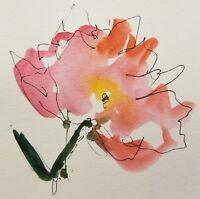 "JOSE TRUJILLO - ORIGINAL Watercolor Painting CONTEMPORARY DECOR 6"" FLORALS"