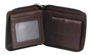Pierre Cardin Men's Italian Leather Zip-Around Wallet with  Mini Chain RFID