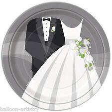 """8 Argento Sposa Sposo Elegante Festa Matrimonio grande 9 """"di carta usa e getta PIASTRE"""