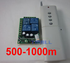 12V 4 Channel Way Remote Control Switch Relay Output 1000m for light motor