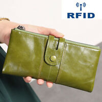 Genuine Leather Women's Long Clutch Wallet RFID Blocking ID Card Holder Vintage