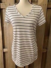 Ingrid Isabel Maternity Size M Striped Vneck Short Sleeve Top White Black