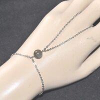 Chaîne de main bracelet bague acier inoxydable Labradorite bijou