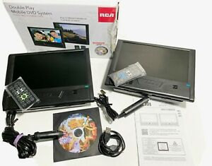 RCA Double Play Mobile DVD System + 2 Remotes DRC72989DE TESTED - Complete Set