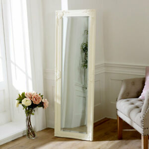 Tall slim cream wall mirror shabby vintage chic French ornate bedroom hallway