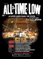 "ALL TIME LOW ""A LOVE LIKE WAR: UK TOUR"" 2014 CONCERT POSTER- Punk/Pop Rock Music"