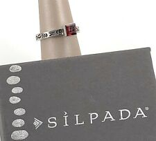 Silpada .925 Sterling Silver & Square Garnet Single Stackable Ring, Size 7 R0455