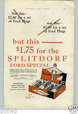 1927 PAPER AD Splitdorf Ford Special Spark Plug Retail Box 4 Ct $1.75