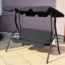 3 Seats Patio Canopy Swing Glider Hammock Cushioned Steel Frame Backyar Black
