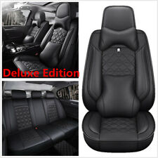 Deluxe PU Leather Car Seat Cover 5 Seats SUV Front+Rear Cushions With Headrests