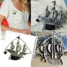 Vintage Detailed Sailing Boat Badge Jewelry Pirate Boat Badge/Brooch Pin