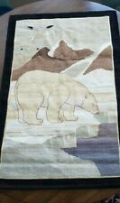 Huge Antique Grenfell Hooked Mat - Iconic Polar Bear Newfoundland Labrador