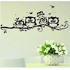 Black Owl Branch Wall Sticker Cute Vinyl Decal Mural Kids Room Decor Nursery