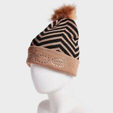 a42b3e17af8 BEBE Women s Beanie Hat Pom Pom Brown Black Big Logo Rhinestone New w Tags
