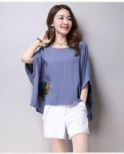 Linen Patch Loose Sky Blue Blouse #A990