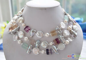 """P4509 50"""" 15mm white coin biwa round freshwater pearl square fluorite necklace"""