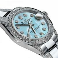 Ladies Rolex Baby Blue Pearl 26mm Datejust S/S Oyster Perpetual Diamond Side + B