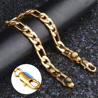 18k Yellow Gold Mens Womens Wide 8mm Figaro Cuban Curb Link Chain Bracelet D698