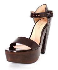 ROBERT CLERGERIE $840 Brown Croc-Stamped DRAKAR Wood Platform Sandals 8