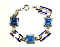 """Art Deco Sterling Bracelet Glass Sugaloaf & Blue Enamel """"Slave"""" Bracelet 7"""" Long"""