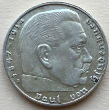 RARE Germany Third Reich 1939 E 5 Reichsmark Silver Hindenburg - Swastika