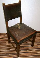 Old Wood Chair, padded, Leather to the Refurbish, Trohn Knight's hall Antique