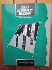Aprenda como usted juega fagot por Peter WASTALL * Nuevo * editor Boosey & Hawkes