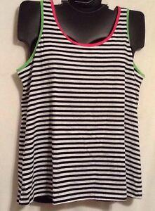 Cacique Intimates Lane Bryant BLACK WHITE STRIPE Tank Sleep Shirt Pink Lime New