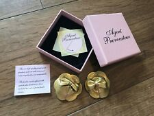 AGENT PROVOCATEUR Leather Gold Nipple Pasties - Hand Made  - BRAND NEW!