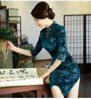 Chinese Retro Velvet Cheongsam QiPao Women Long Evening Formal Party Dress Lady