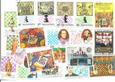 Chess 50 all different stamps collection mainly large-medium size