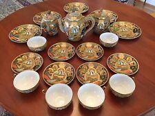Japanese Satsuma Moriage Dragon Ware Gilded Immortals Tea Set 21 Pieces