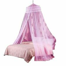 Round Hoop Double Lace Princess Mosquito Net Bed Canopy Fit Crib Twin Full Qu.